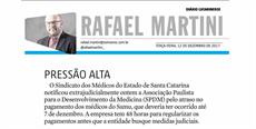 Rafael Martini repercute notificação do SIMESC sobre médicos do Samu